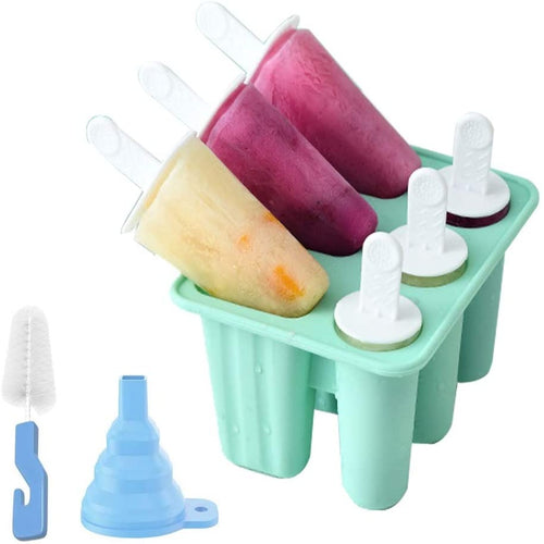 (T547)Popsicle Molds 6 Pieces Silicone Ice Pop Molds BPA Free Popsicle Mold Reusable Easy Release Ice Pop Maker with Silicone Funnel and Cleaning Brush, Green