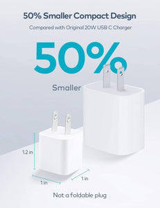 (C357)USB C Charger, Zoprovo 20W Fast Charger 2-Pack Mini Wall Chargers Block, Compact USB-C Power Adapter PD 3.0 Power Brick Cube