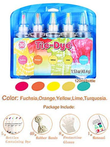 (R868)KISSBELLY 5 Colours One Step Tie Dye Kit Shirt Fabric Textile Paints Dying Kits Permanent Clothes Graffiti Jacquard Pigment for Adults Kid