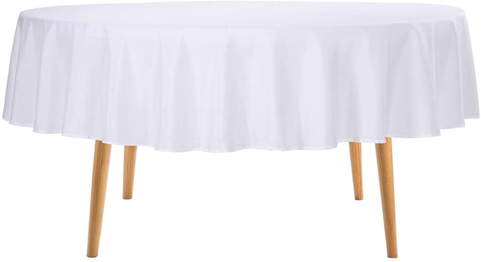 (T511)Ascoza 2pack 70 Inch White Round Tablecloth for Wedding/Banquet/Restaurant/Parties