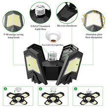 Load image into Gallery viewer, (S607)2 Pack LED Garage Lights, Aufixy 120W 240 LEDs Deformable Garage Ceiling Light Provides 12000 Lumens of Led Shop Light with Standard E26 Lamp ...