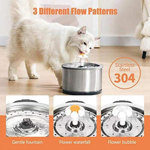 (T608)Cat Water Fountain Stainless Steel, 84oz/2.5L Pet Drinking Fountain, Ultra Quiet Pump with LED Night Light Automatic Dog Drinking Fountains...