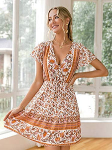 (Y556)Glamaker Women's Casual V Neck Bohemian Floral Print Ruffle Swing A Line Beach Mini Dress with Button