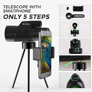 (H919)Simitten Monocular Telescope 12X42 Powerful Monocular with Smart Phone Adapter,High Power Vision