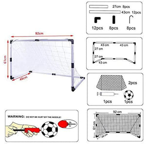 (W476)Dmorun Portable Pop up Easy Fold-Up Soccer Goals Set of 2 with Pump Football,Kids Practice Soccer Target net for Backyard Park or Training Soccer Goal