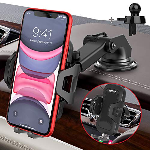 (X831)UVERTOOP Car Phone Mount, Universal Cell Phone Holder for Car Air Vent Dashboard Windshield [Strong Suction & Durable] Car Phone Holder Mount ...