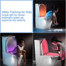 Load image into Gallery viewer, (J780)2 Pack Light Up Toilet Night Light Motion Sensor 16 Colors, Rechargeable Led Toilet Bowl Night Light Motion Activated W/ Aromatherapy Tablets, ...