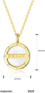 (V953)BDD CO. Lettering Dream Pendant Necklace for Girls, S925 Sterling Silver White Shell Piece Necklace with Gold Plated, Personalized Gift for Graduation