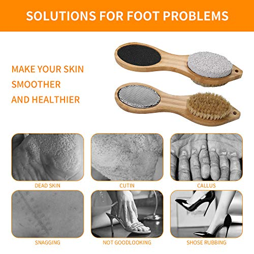 (H0115)Piklohas Foot File Callus Remover, 2 Pieces 4 in 1 Feet Pedicure Tools with Foot Scrubber, Pumice Stone, Foot Rasp and Sand Paper