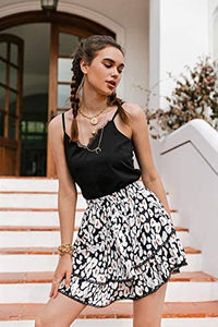 (M519)Glamaker Women's High Waist Leopard Print Layered A Line Mini Skirt Boho Ruffle Pleated Short Skirts