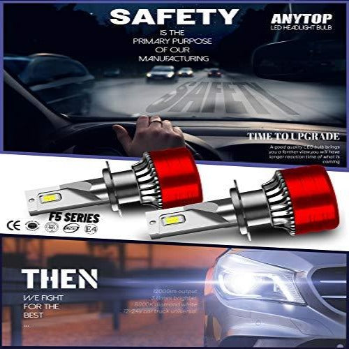 (S742)ANYTOP H7 LED Headlight Bulbs - Low Beam 100W 12000Lumens Super Bright High Beam Conversion Kit 6000K Cool White XHP Chips Waterproof ...
