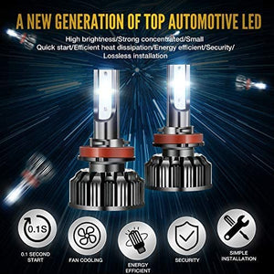 (V920)H11/H9/H8 LED Headlight Bulbs, ExceCar 90W 10000 Lumens Super Bright 6500K LED Headlights Conversion Kit Cool White IP68 Waterproof