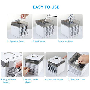(X263)Portable Air Conditioner Fan, AUSHEN Personal Air Cooler Mini Air Conditioner with 3 Speeds, 7 Color LED Light, Desktop Table Cooling Fan...