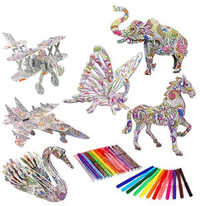 (Y382)Aukisung 3D Coloring Puzzle Set 6 Pack Arts and Crafts for Kids, Fun Creative DIY Toys for Family Craft Kits