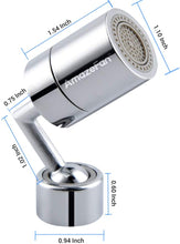 Load image into Gallery viewer, (Q837)AmazeFan 720° Degree Swivel Sink Faucet Aerator, Big Angle 2.5 GPM Large Flow Aerator Dual Function Kitchen Faucet Aerator, Polished Chrome