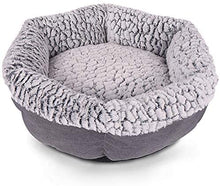 Load image into Gallery viewer, (H207)Cat Bed for Indoor Cats, 21 in Round Machine Washable Pet Bed for All Cats Small Dog, Breathable Linen Ultra Soft Luxurious Plush Pet Bed
