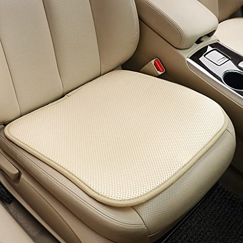 (D128)TISHIJIE Cooling Seat Cushion for Car - Breathable Comfort Car Seat Protector Pad - for Car Front Seat, Truck, Office Chair (Beige, 1 Pcs)