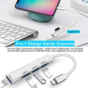 (T717)USB C Hub, KINDRM 4in1 Mini Portable Type C to USB 3.0 Hub Multiport Adapter for MacBook Air, MacBook Pro, iPad Pro, XPS and More Type C Devices