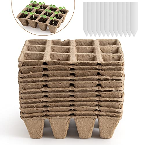 (W499)Daletu Seed Starter Tray, 12 Pack 12 Cell (144 Cells) Peat Pots, Biodegradable Seed Starting Trays, Eco-Friendly Seedling Trays, Organic Seed Starter ...
