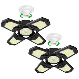 (S607)2 Pack LED Garage Lights, Aufixy 120W 240 LEDs Deformable Garage Ceiling Light Provides 12000 Lumens of Led Shop Light with Standard E26 Lamp ...