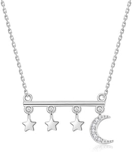 (V952)Sterling Silver Moon Star Choker Necklace, Brandy Melville Star Necklace, White Gold Plated Crescent Moon Necklace