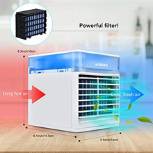 Load image into Gallery viewer, (X263)Portable Air Conditioner Fan, AUSHEN Personal Air Cooler Mini Air Conditioner with 3 Speeds, 7 Color LED Light, Desktop Table Cooling Fan...