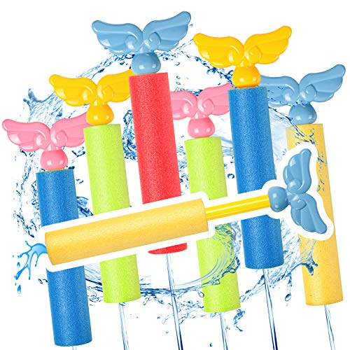 (M212)Esnowlee 6 PCS Foam Squirt Guns Water Blaster Set, 32 ft Shooting Range Squirt Gun Swimming Pool Beach Party Water Outdoor Toy for Kids Adults