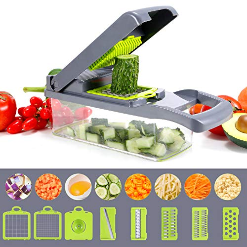 (F250)Vegetable Chopper, Multi-functional Onion Chopper, Veggie Chopper with 6 Stainless Steel Blades, 12 in 1 Vegetable Slicer with Container, Mandoline ...