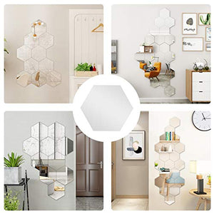 (J015)32 Pcs Acrylic Mirror Wall Stickers Decal Hexagon Mirror Tiles Decals Removable Acrylic Mirror Setting Self Adhesive Tiles for Home Bedroom Wall ...