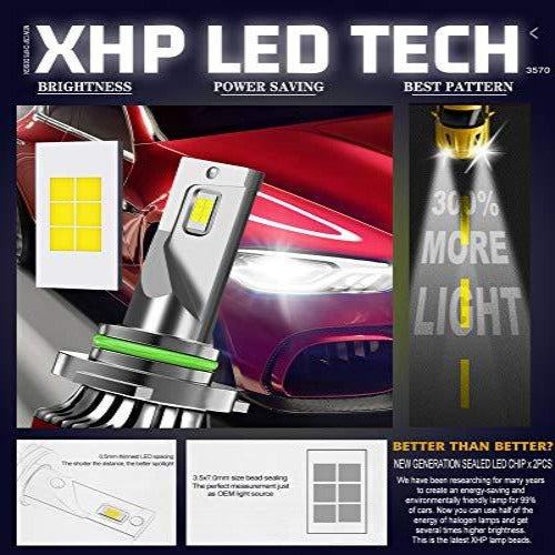 (S743)ANYTOP 9006/HB4 LED Headlight Bulbs - Low Beam 100W 12000LM Super Bright Fog Lights Conversion Kits 6000K Cool White XHP Chips IP68 ...