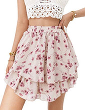 Load image into Gallery viewer, (M567)Narspeer Women's Summer Chiffon Mini Skirt Floral Flowy Ruffle Skirt Casual Cute Printed Short Skirt