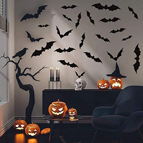 (E623)Mitcien 72 Pack Halloween Bats 3D PVC Bat with Luminous Moon Wall Sticker Glow in the dark for Halloween Party Home Decoration Scary Bats Wall Decal Removable