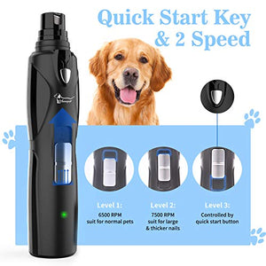 (M401)Dog Nail Grinder with LED Light - Professional Quiet Pet Nail Trimmers, Rechargeable Electric Dog Nail Clippers, Painless Paws Nail File Grooming ...