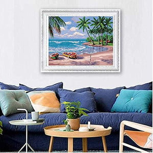 "(R272)SUPNEW Paint by Numbers for Adults Beginner & Kids,DIY Oil Painting Kit on Canvas with Paintbrushes and Acrylic Pigment, Arts Craft for Home Wall Decor-16""W X 20""L Beach Hawaii"
