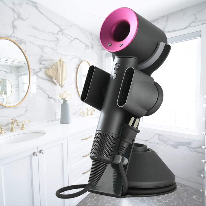 (R041)Foho Hair Dryer Holder for Dyson Supersonic, Magnetic Stand Holder with Power Plug Cable Organizer, Aluminum Alloy Bracket