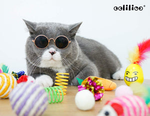 (G198) oolilioo 22 PCS Cat Toys, Kitten Interactive Toys Assortments Including Feather Wand, Cat Cool Glasses, Bell Balls, Fluffy Mice, Catnip Toys, Natural Chew Stick for Cat, Kitty
