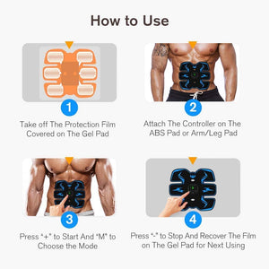 (Q611)Abs Stimulator Abdominal Muscle,EMS ABS Trainer Body Toning Fitness, USB Rechargeable Toning Belt ABS Fit Weight Muscle Toner Workout Machine