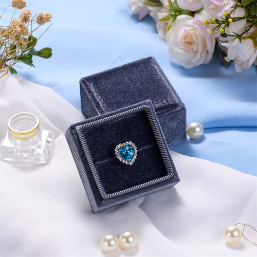 (H221)Velvet Ring Pendant Bearer Box,Jewelry Display Gift Box for Proposal,Engagement,Wedding,Anniversary (Ring Box, Gray)