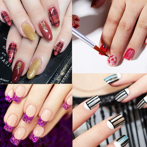 (Q432)8Pcs Nail Art Brushes Kit, 3Pcs Thin Liner Brushes Acrylic Nail Brush Pens 5Pcs Painting Flower Polygel Brush Manicure DIY Design Nail Art Salon