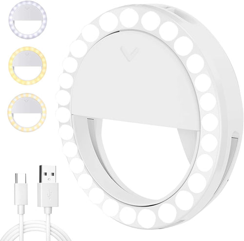 (S582)Selfie Ring Light,[4 Light Modes] [Rechargeable] with LED Lights, Adjustable Brightness 600mAh Clip on Ring Light