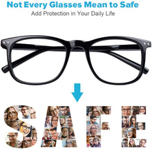 Load image into Gallery viewer, (H612)Blue Light Blocking Glasses, 2 Pack Cut UV400 Transparent Lens Computer Reading Glasses for Anti Eyestrain, Lightweight Eyeglasses Frame, Sleep Better