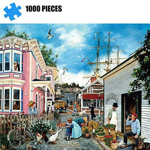 (T375)Puzzles for Adults 1000 Piece Jigsaw Puzzle -Dock Town, Educational Intellectual Decompressing Toy Fun Family Game for Kids Adults 802
