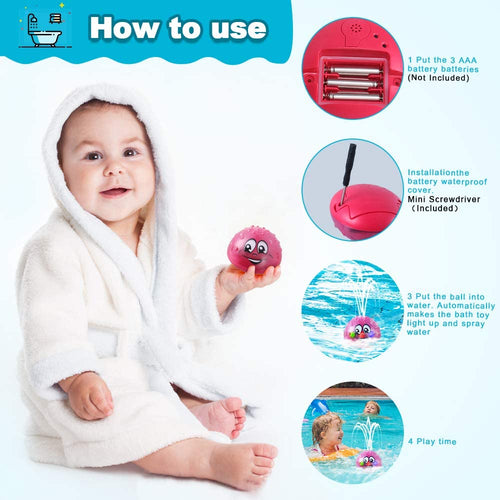 (T553)Bath Toys, Water Spray Toys for Kids Baby Bath Toys for Toddlers LED Light Up Bathtub Toys for Toddlers Sprinkler Bath Toy