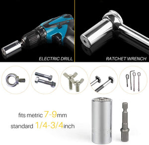 "(Y500)Universal Socket Professional 7mm-19mm Multifunction Sockets Hand Tools Wrench Repair Kit with 1.9"" Electric Drill Adapter 1/4 inch Hex Soft Screwdriver Telescopic"