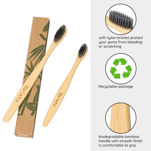 (W495)Daletu Bamboo Toothbrush, 6PCS Toothbrushes Set for Baby Kids and Adult Family Pack Wooden Toothbrush Medium Soft Bristles Tooth Brush Portable Travel