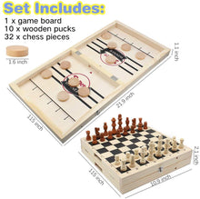 Load image into Gallery viewer, (e764)Fast Sling Puck Game Large Size & Wooden Chess Set (2 in 1), Folding Wooden Hockey Game for Adults and Kids