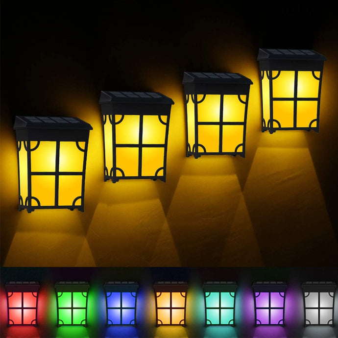 (T565)TonyEst 8 Pack Solar Deck Lights Outdoor Classic Style Amber Warm LED Solar Fence Lights Waterproof Garden...