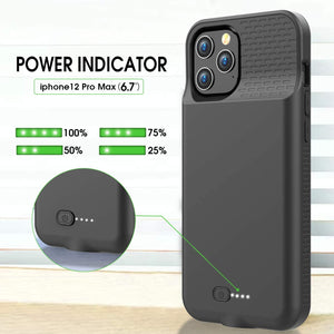 (T462)Allezru Battery Case for iPhone 12Pro Max, 6000mAh Portable Protective Charger Case Rechargeable Extended Battery Pack Charging Case Compatible