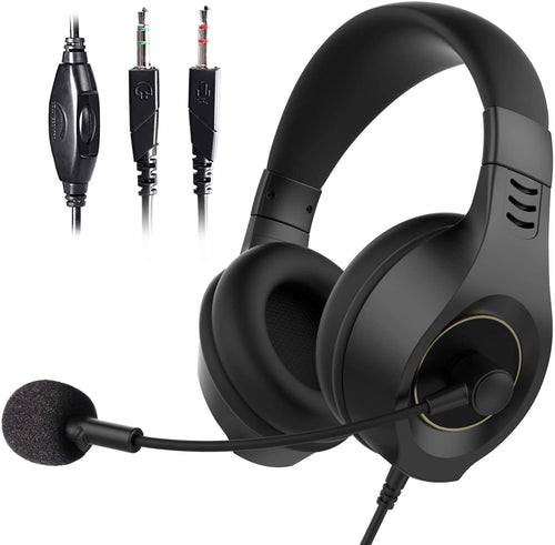 (V660)SOMIC Stereo Headset, Computer Headset with Microphone Noise Cancelling, 3.5mm Over-Ear Headphones with Volume Control, Soft Earmuff