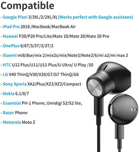 (D635)USB C Headphones, Biming Type C Earbuds USB C Earphones with Mic & Volume Control Headphone for Google Pixel 4/3/2/XL,iPad Pro 2018, OnePlus 6T